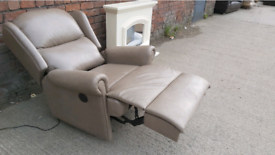 Chair - Quality Extra Comfy Brownish Leather Electric Recliner Chair.