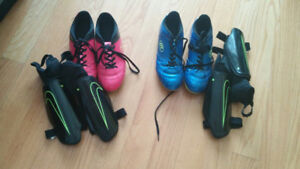 PINK SOCCER SHOES WITH SHIN GUARDS SIZE 9