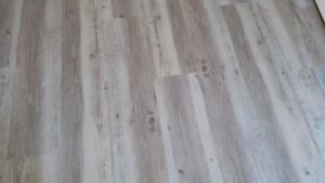 Vinyl flooring planks Gray beige wood look low cost