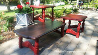 Great Shabby Cottage Red Painted Coffee and End table Set!!