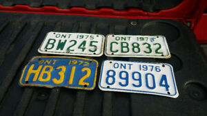 1972 ONTARIO MOTORCYCLE/SLED  LICENCE PLATES 1975