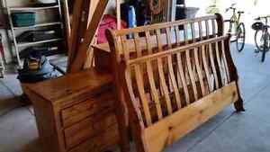 Sleigh bed, dresser, night stand