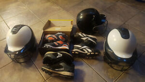 Softball helmets and shoes