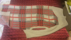 #16 Dog Fashion - Beige, Brown and Red Striped Jacket $10