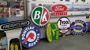BIG TRACTOR AND GASOLINE SIGNS