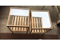 2 small glass top coffee tables