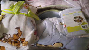 SOLD Brand new winnie the pooh comforter, fitted crib sheet etc