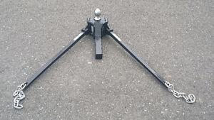 Attache remorque, roulotte avec barres anti-swing, anti-roulis