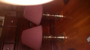 Pair of table lamps and a string of TML lights