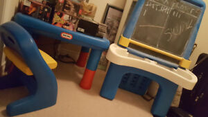 little tikes table and chairs, easel chalkboard