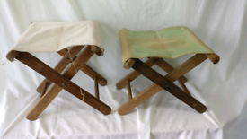Folding wooden stools for camping or garden