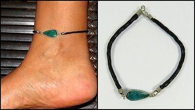Edle Fußkette Fußband Chrysokoll echter Stein Leder verstellbar Boho Ethno NEU!