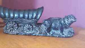 Indian Art Carving Of Oxen Pulling A Covered Wagon.