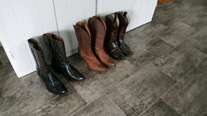 3 PAIRS OF MEN'S BOULET LEATHER COWBOY BOOTS