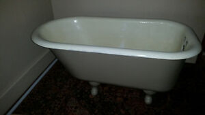 Cast iron painted tub with chrome faucets