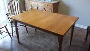 Oak harvest table and 8 matching chairs
