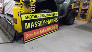 LARGE MASSEY HARRIS  JOHN DEERE AND FORD TRACTOR SIGNS