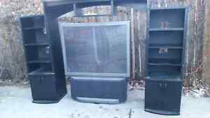 """52"""" TV and cabinet for $100"""