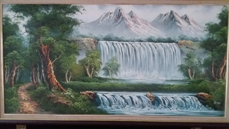 A BEAUTIFUL OIL PAINTING of WATERFALL SCENERY - MUST SEE, A BEATIFIC & IMPRESSIVE Painting