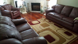 Leather Sofa with 3 Tables and Rug (Only for $599)