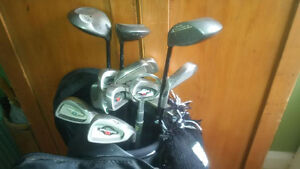 Golf Clubs, bags, and shoes