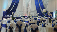 WEDDING DECORATION, DECOR & FLOWER, CHAIR COVER, DRAPING