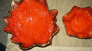 "VINTAGE SET OF 2 ""CALIFORNIA POTTERY ORANGE MAPLE LEAF BOWLS"" A+ Kitchener / Waterloo Kitchener Area image 4"