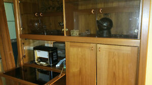 BEAUTIFUL REAL TEAK DISPLAY CABINET/ ENTERTAIMENT UNIT Strathcona County Edmonton Area image 1