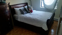 **Solid Stained Wood *QUEEN* size Bed set + Solid Wood ** DRESSE