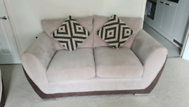 2 piece beige and grey 4 seater corner and 2 seater sofa set