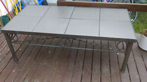 Tile and metal coffee table