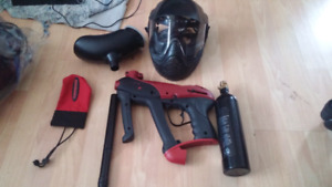 Paintball gun with mask, tank, paintball bag