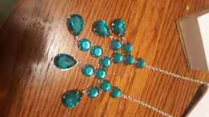 Green blue necklace.