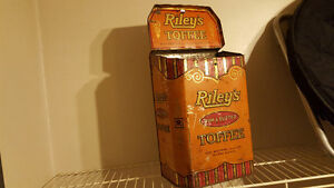 Antique embossed rileys toffee tin store display
