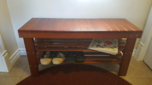 Entryway Bench and Shoe Rack –  Solid wood. Cherry colour