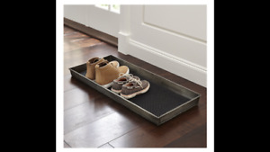 Crate & Barrel Zinc Boot Tray with Liner