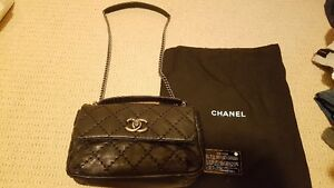 Chanel Medium Large Stitch Black Flap Shoulder or Messenger