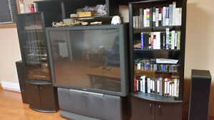 Sony 53 inches rear projection tv with tv wall unit