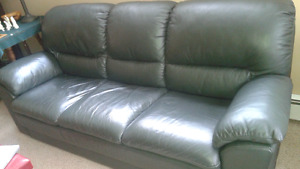 PRICE CHANGE: Dark green leather couch and chair