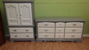 Professionally painted grey and white solid wood dressers