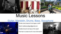 Guitar, Drum, Bass, Mandolin, and Saxophone Lessons