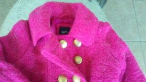 Gap jacket / coat - pea-coat style - Pink Mohair ( 4T / 5T )