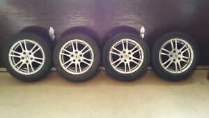 4x MICHELIN PRIMACY MXM4 TIRES WITH RIMS - ACURA RSX 205 55 R16