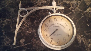 Rustic double sided wall mounted clock