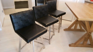 Counter height stools chairs stainless and leather
