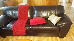 Sofa et causeuse en cuir