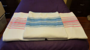 Texmade-Ibex Flat Twin Sheets - 2 Pink & 1 Blue Stripes
