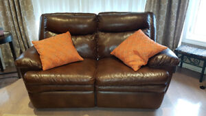 Reclining Sofa - brown bonded leather