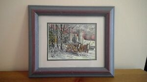 George Elliott print - Winter sleigh ride scene