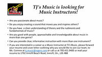 Music Instructor's wanted!